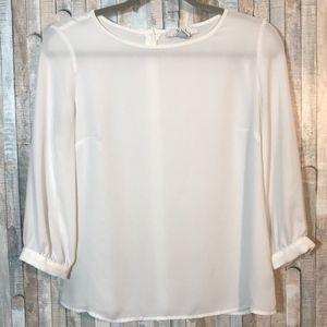 Sheer White Long-Sleeved Blouse | Forever 21
